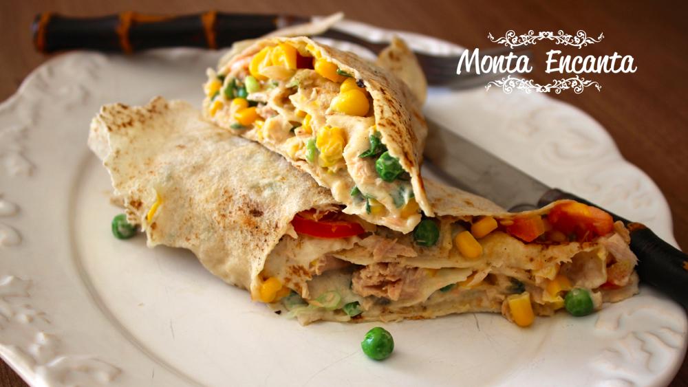 Wrap roll de atum com milho no  pão folha!