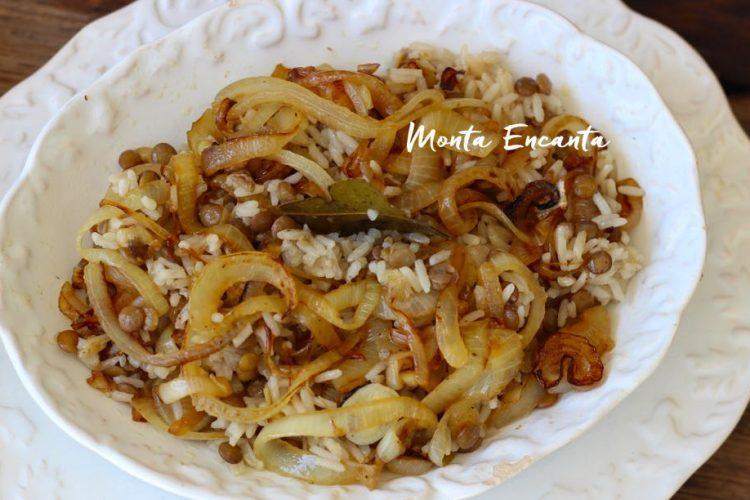 Enjadra, receita de arroz com lentilha à moda árabe
