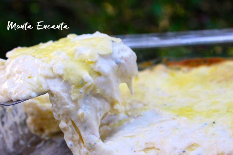 Lasanha  Béchamel gratinada com queijo puxa!