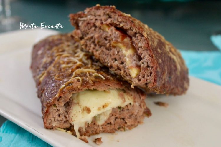 Rocambole de Carne moída com queijo puxa!