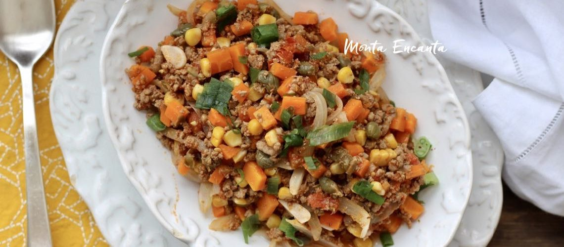 Carne Moída Refogada com Cenoura e Milho, hum!
