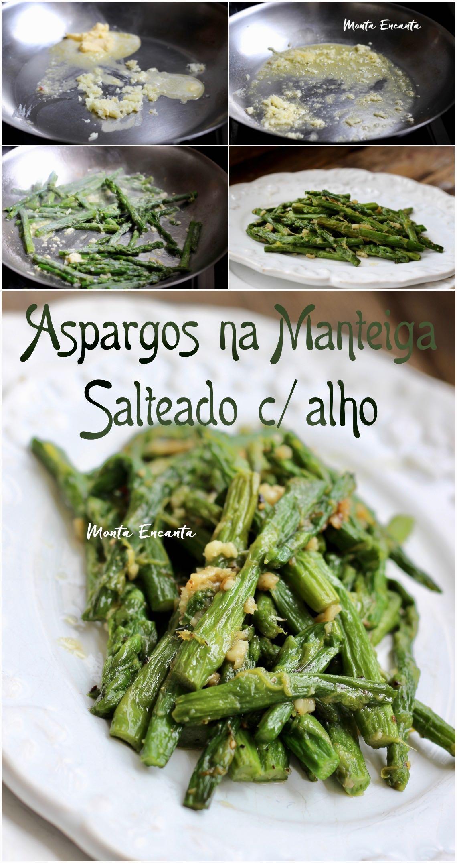 aspargos na manteiga com alho