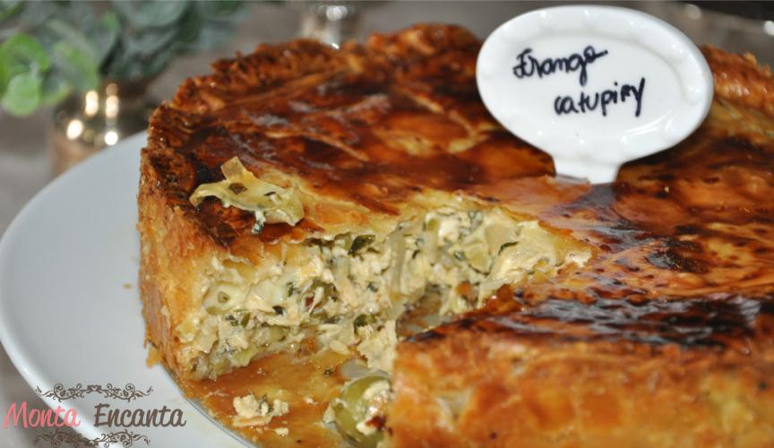 Torta massa folhada  frango e alho poro