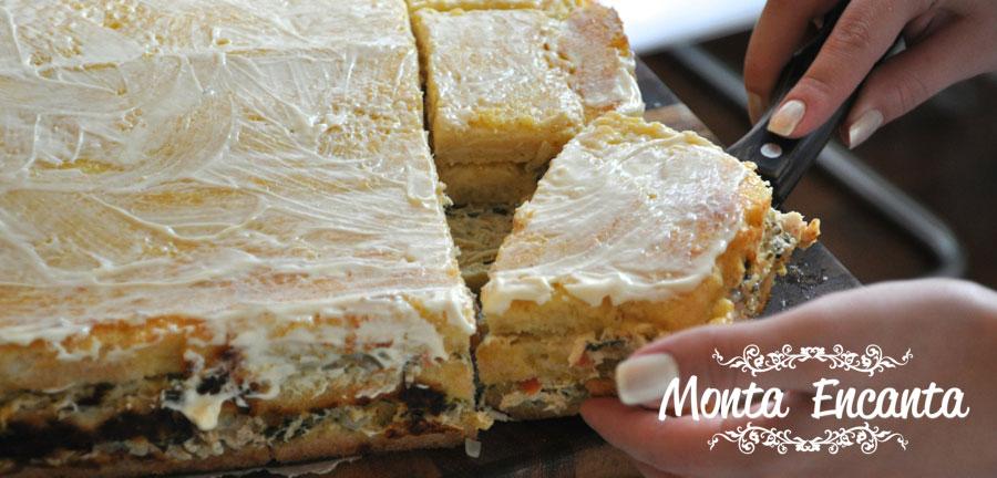 Torta de Pão de Forma de frango, gratinada ao forno!