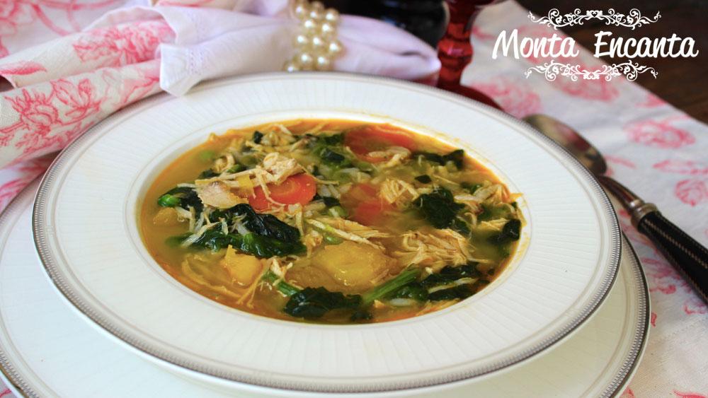 Sopa de arroz com espinafre