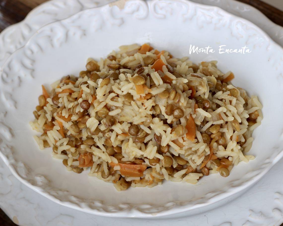arroz com lentilha