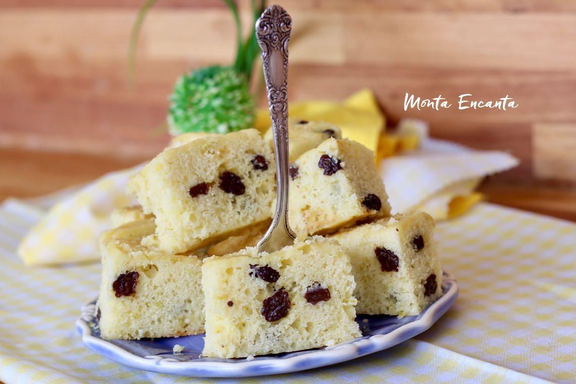 bolo de limão com uva passa