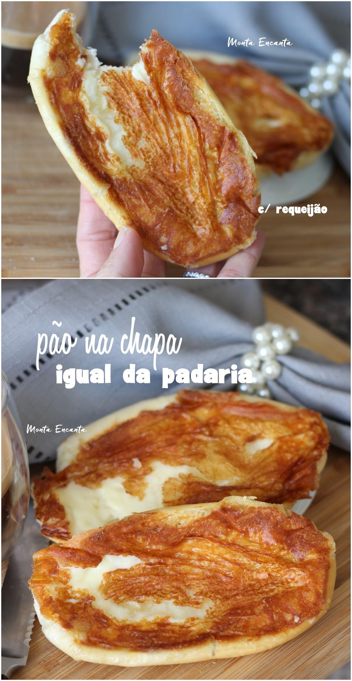 pão na chapa com casquinha de requeijão da padaria