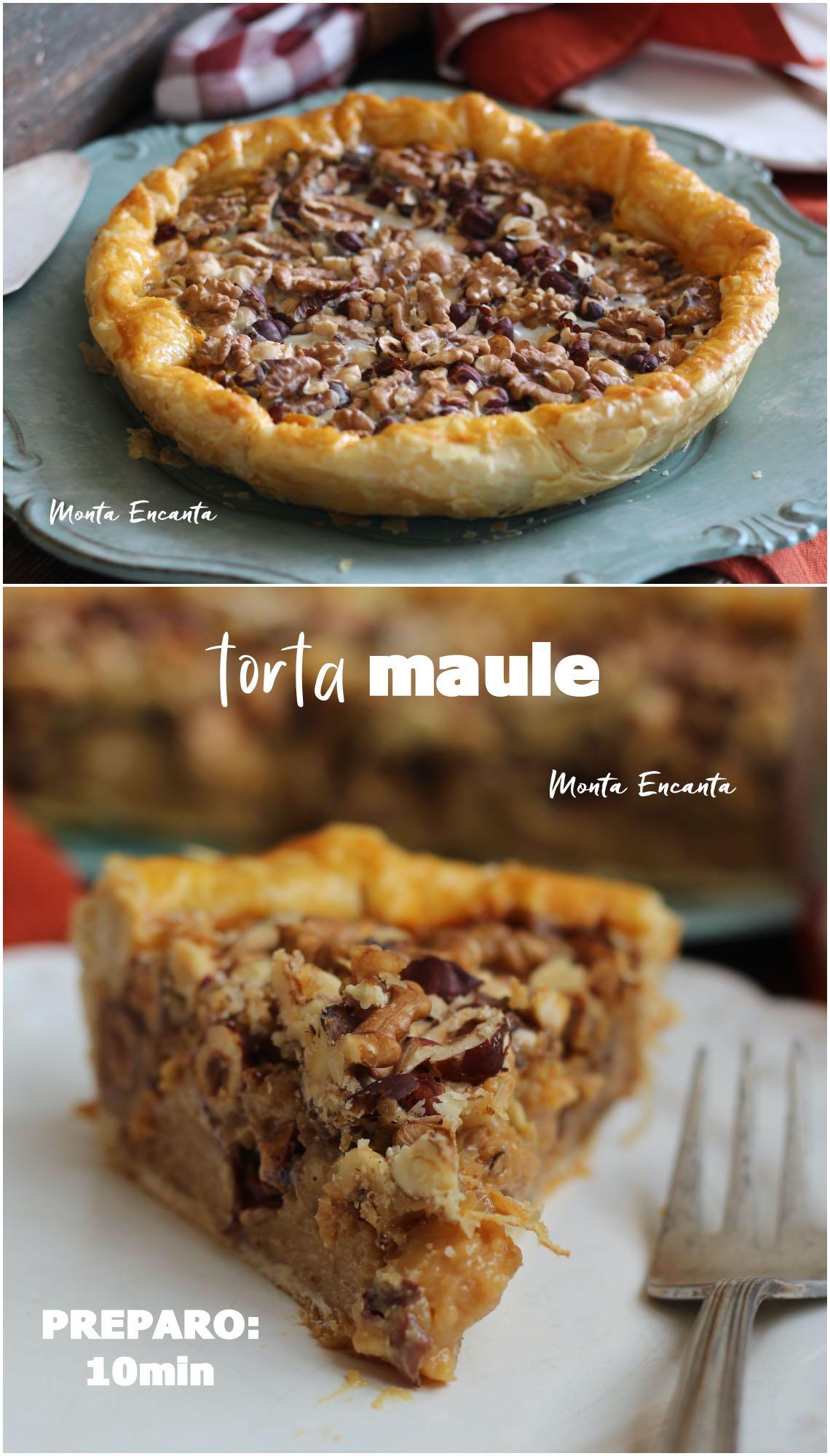 Torta Maule c/ massa folhada, condensado e nozes